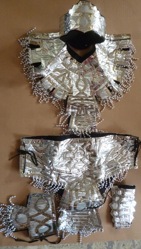Azteca adult set costume silver
