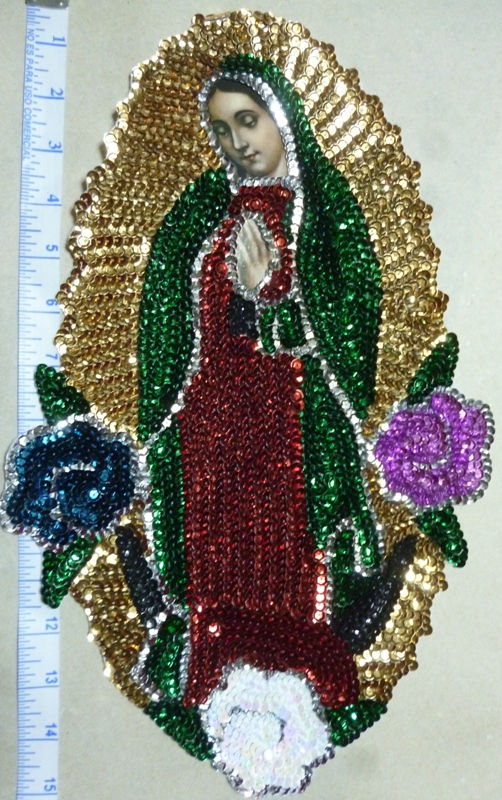 "Virgen of Guadalupe 15"" (38cm)Sequins Patch"