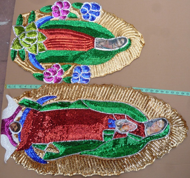 Virgen of Guadalupe Jumbo  Sequins Patch 35""