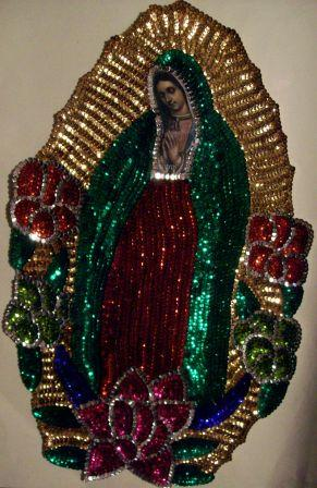 "Virgen of Guadalupe Big 14"" Sequins Patch"