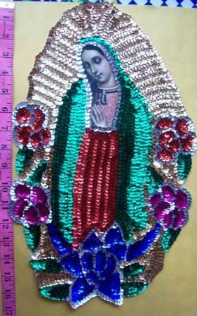 "Virgen of Guadalupe Big 17"" Sequins Patch 44cm"