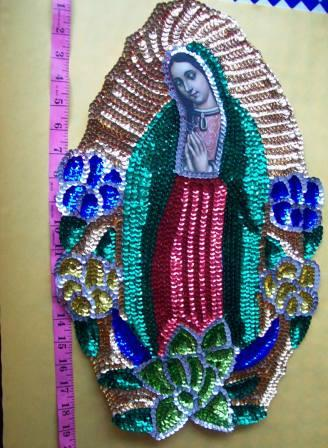 "Virgen of Guadalupe jumbo 20"" Sequins Patch"
