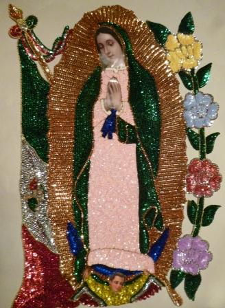 Virgen of Guadalupe Jumbo W/FLAG Sequins Patch 28""