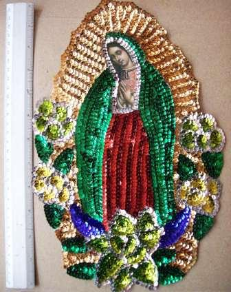 "Virgen of Guadalupe Big 12"" Sequins Patch"