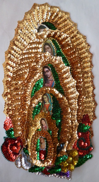 Virgen of Guadalupe Amazing set of 6 Sequins Patches